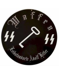 GERMAN WAFFEN LEIBSTANDARTE ADOLF HITLER METAL ROUND SIGN