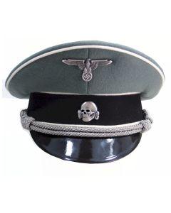 GERMAN WAFFEN SS GREY OFFICER VISOR CAP