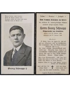 GERMAN WW11 DEATH CARD FOR GEORG SCHNAPP