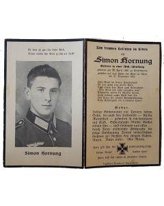 GERMAN WW11 DEATH CARD FOR GEFREITER SIMON HORNUNG