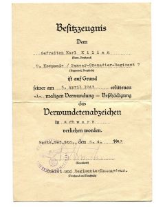 GERMAN WW2 BLACK WOUND BADGE AWARD DOCUMENT