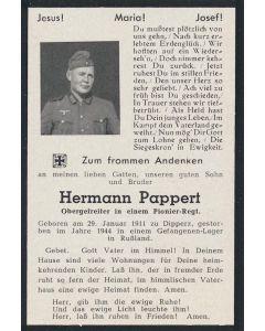 "GERMAN WW2 DEATH CARD FOR "" HERMANN PAPPERT"""