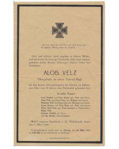 "GERMAN WW2 DEATH NOTICE FOR "" ALOIS VELZ"""