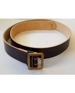 GERMAN WW2 GENERALS HEER ARMY OR LUFTWAFFE BROWN LEATHER BELT WITH ORIGINAL GOLD 2 PRONG BUCKLE