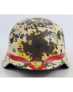 GERMAN WW2 M40 MEDIC HELMET WINTER CAMOFLAGE