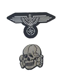 GERMAN WW2 SS SKULL AND EAGLE BEVO HAT BADGE EM  GREY SET