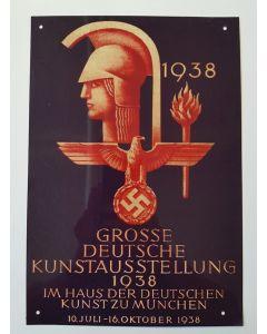 GROSSE DEUTSCHE KUNSTAUSSTELLUNG 1938 METAL SIGN