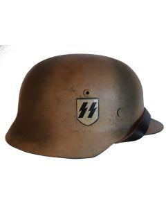 SS M35 DOUBLE DECAL NORMANDY CAMO WW2 GERMAN COMBAT HELMET