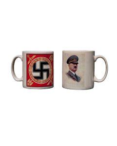 CERAMIC COFFEE MUG WITH HITLER'S STANDARD AND PROFILE