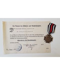 HONOR CROSS FOR COMBATANTS WITH AWARD DOCUMENT