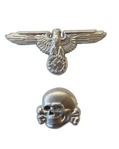 GERMAN SS METAL CAP SKULL and SS CAP EAGLE