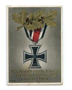 GERMAN WW2 MILITARY POSTCARD WITH IRON CROSS- ES KANN NUR EINER SIEGEN UND DAS SIND WIR ADOLF HITLER AM 8. November 1939