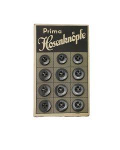 WW2 GERMAN CARD OF PRIMA HOSENKNOPFE GREY PLASTIC BUTTONS 17MM & 14MM