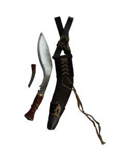 WW2 KUKRI OR GURKHA MILITARY KNIFE WITH LEATHER SHEATH AND 1 SMALL KNIFE