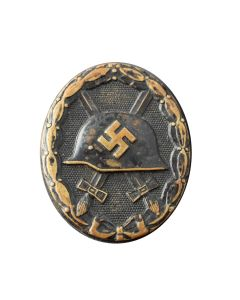 WW2 GERMAN ARMY WOUND BADGE IN BLACK & CERTIFICATE OF OWNERSHIP 1944 DATED
