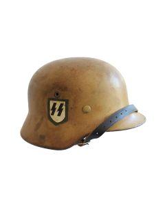 GERMAN  WW2 M40 REFURBISHED SS HELMET TROPICAL/SOUTHERN FRONT CAMO Q64
