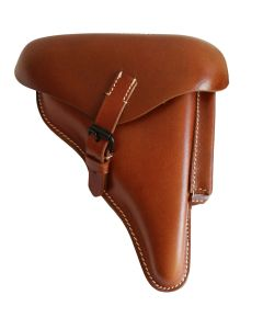 WWII GERMAN P08 LUGER HARDSHELL PISTOL HOLSTER BROWN WITH LUGAR TAKE DOWN TOOL