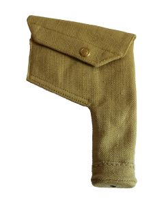ENFIELD REVOLVER P37 BRITISH/ CANADIAN WWII SQUARE KHAKI CANVAS HOLSTER