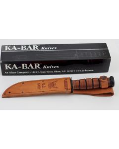 KA-BAR USMC NAVY PEARL HARBOR COMMEMORATIVE FIGHTING KNIFE AND LEATHER SHEATH