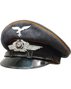 GERMAN LUFTWAFFE EM  VISOR CAP  GOLDEN YELLOW PIPING