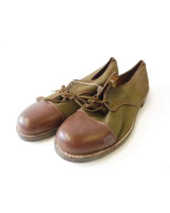 CANADIAN WWII CANVAS AND LEATHER OFFICER SHOES