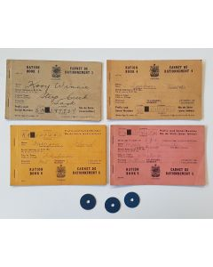 ORIGINAL USED CANADIAN WW2 RATION BOOKS AND MEAT RATION TOKEN
