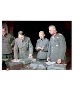 ADOLH HITLER, AT THE MAP TABLE WITH WILHELM KEITEL AND HIS GENERALS COLOR POSTER
