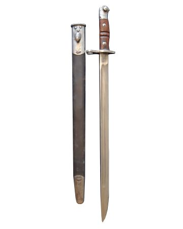 WWI BRITISH PATTERN 1913 BAYONET AND LEATHER SCABBARD FOR 1914 ENFIELD RIFLE