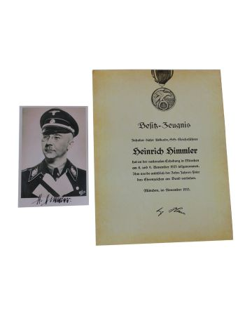 Himmler - Blood Order Certificate + Photo