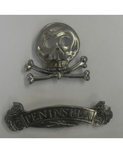 BRITISH HUSSAR HAT SKULL WITH PENINSULA SERVICE RIBBON BAR