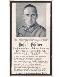 WWII German death card for Infantry Regiement Private JOSEF FISCHER