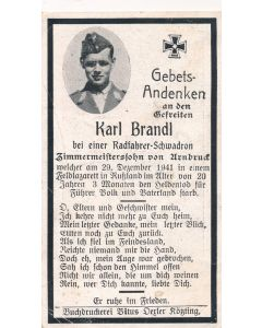 GERMAN WWII DEATH CARD FOR CYCLIST SQUADREN SOLDER KARL BRANDL