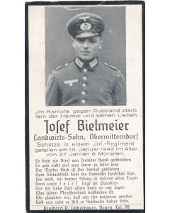 WWII German death card for Infantry Regiment Soldier JOSEF BIELMEIER