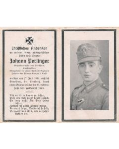 GERMAN WWII DEATH CARD FOR  ARTILLERY REGIMENT OBERGEFREITER JOHANN DERLINGER