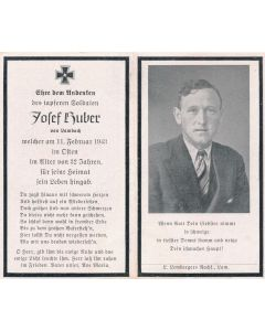 GERMAN WWII DEATH CARD FOR  JOSEF HUBER