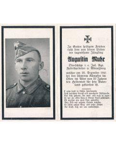 GERMAN WWII DEATH CARD FOR INFANTRY REGIMENT SOLDIER YUGUFTIN MUHR