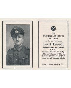 GERMAN WWII DEATH CARD FOR GRENADIER RESERVES BATTALION SOLDIER KARL BRAIDT
