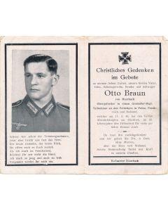GERMAN WWII DEATH CARD FOR GRENADIER REGMT. OBERGEFREITER OTTO BRAUN