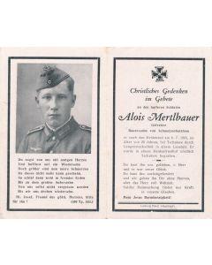 GERMAN WWII DEATH CARD FOR GEFREITER ALOIS MERTLBAUER