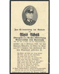 GERMAN WWII DEATH CARD FOR SOLDATE JOSEF HEIGL