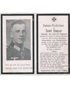 GERMAN WWII DEATH CARD FOR OBERGEFREITER INFANTRY SOLDIER JOFEF DANZER