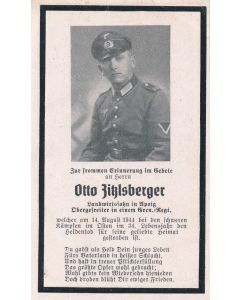 DEATH CARD FOR A GERMAN WW1I GENADIER REGIMENT OBERGEFREITER - ORIGINAL