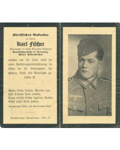 GERMAN WWI DEATH CARD FOR GRENADIER REGIMENT PANZERJAGER KARL FILCHER