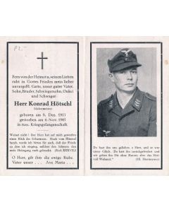 GERMAN WWI DEATH CARD FOR SOLDIER & MASTER BAKER  KONRAD HOTSCHL