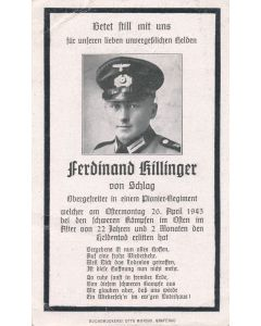 GERMAN WWI DEATH CARD FOR PIONEER REGIMENT OBERGEFREITER FERDINAND KILLINGER