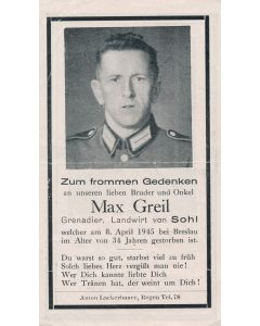 GERMAN WWI DEATH CARD FOR GRENADIER MAX GREIL