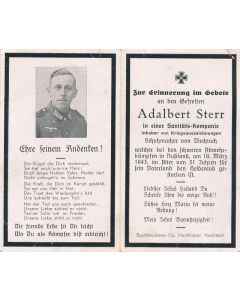 GERMAN WWII DEATH CARD FOR MEDICAL COMPANY SOLDIER ADALBERT STERR