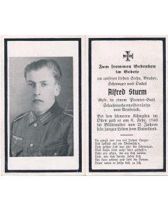 GERMAN WWII DEATH CARD FOR GEFREITER PIONEER BATTALION SOLDIER ALFRED STURM