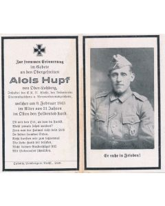 GERMAN WWII DEATH CARD FOR  INFANTRY SOLDIER ALOIS HUPF