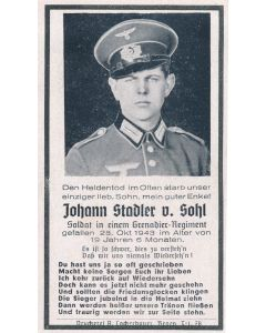 GERMAN WWII DEATH CARD FOR GRENADIER REGIMENT SOLDIER JOHANN STADLER V. SOHL